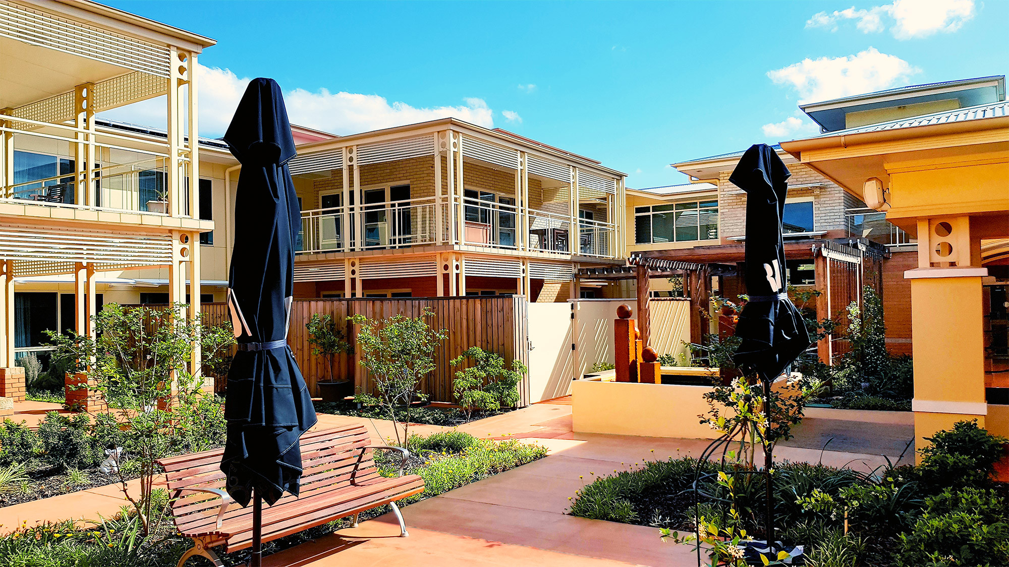 Central aged care courtyard